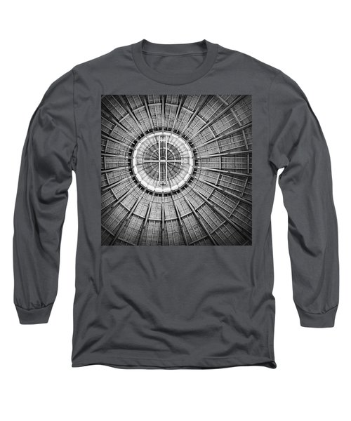 Roundhouse Architecture - Black And White Long Sleeve T-Shirt by Joseph Skompski