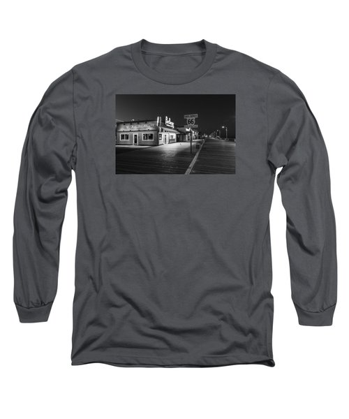 Route 66 Santa Monica Black And White  Long Sleeve T-Shirt