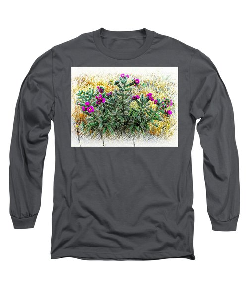 Royal Gorge Cactus With Flowers Long Sleeve T-Shirt by Joseph Hendrix