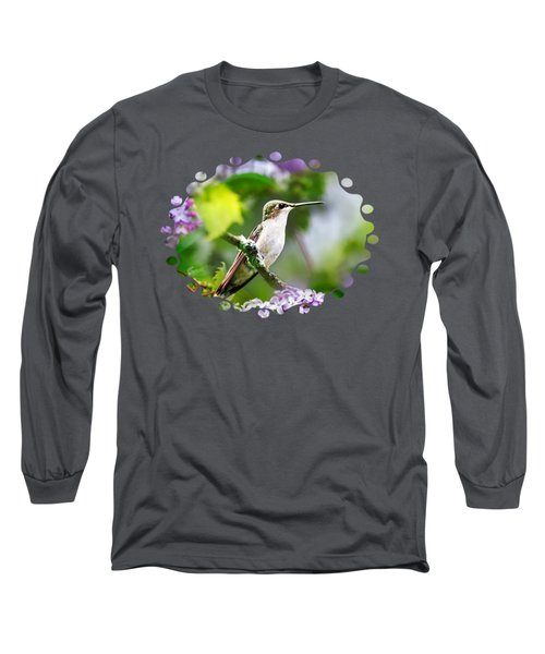 Ruby-throated Hummingbird-1 Long Sleeve T-Shirt by Christina Rollo