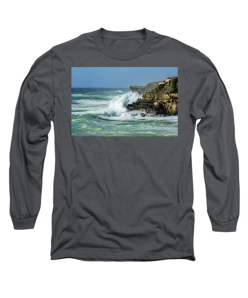Long Sleeve T-Shirt featuring the photograph Rugged Coastal Seascape by Marion McCristall