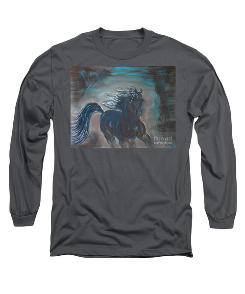 Long Sleeve T-Shirt featuring the painting Run Horse Run by Leslie Allen