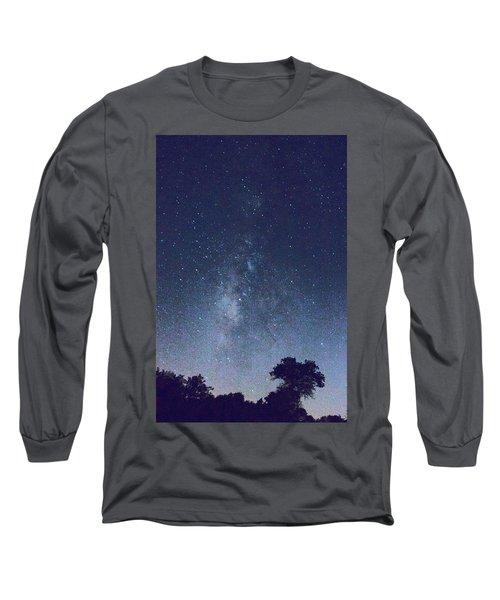 Running Dog Tree And Galaxy Long Sleeve T-Shirt by Carolina Liechtenstein