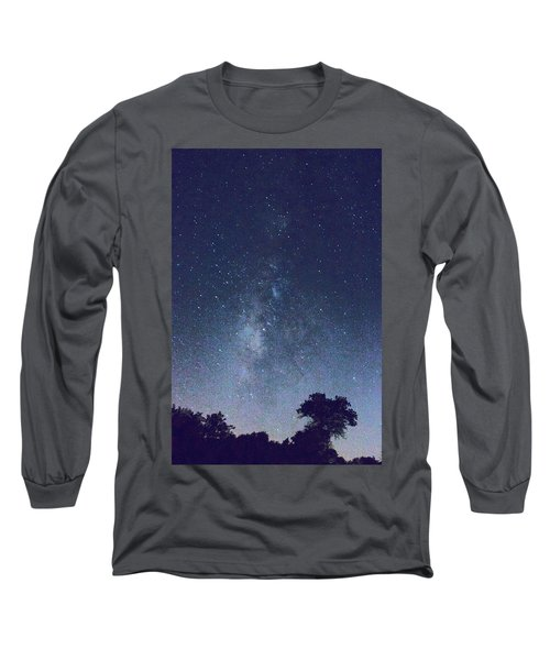 Running Dog Tree And Galaxy Long Sleeve T-Shirt