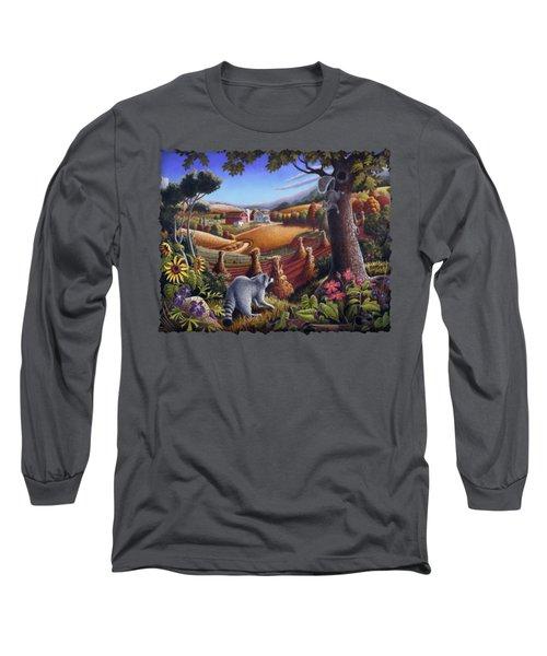 Rural Country Farm Life Landscape Folk Art Raccoon Squirrel Rustic Americana Scene  Long Sleeve T-Shirt by Walt Curlee