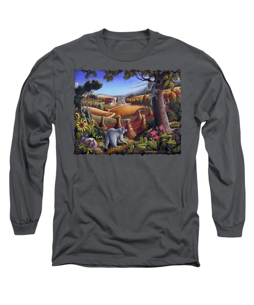 Rural Country Farm Life Landscape Folk Art Raccoon Squirrel Rustic Americana Scene  Long Sleeve T-Shirt