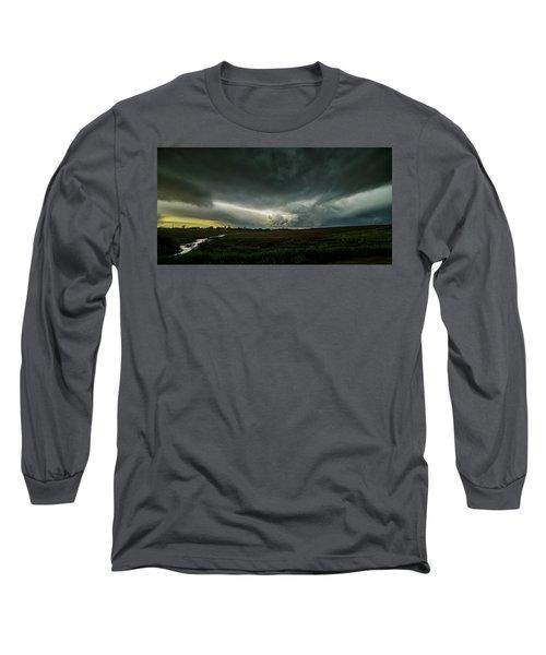 Rural Spring Storm Over Chester Nebraska Long Sleeve T-Shirt by Art Whitton