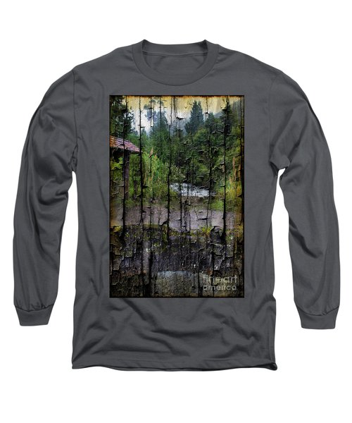 Rushing Cascade In The Andes - On Bark Long Sleeve T-Shirt by Al Bourassa