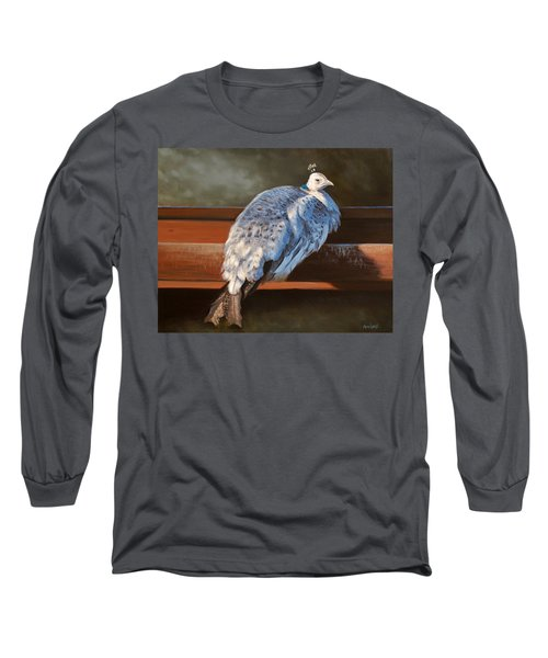 Rustic Elegance - White Peahen Long Sleeve T-Shirt