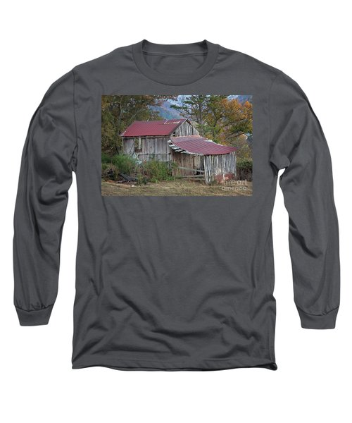 Long Sleeve T-Shirt featuring the photograph Rustic Weathered Hillside Barn by John Stephens