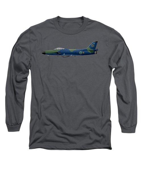 Saab J32e Lansen - 32507 - Side Profile View Long Sleeve T-Shirt