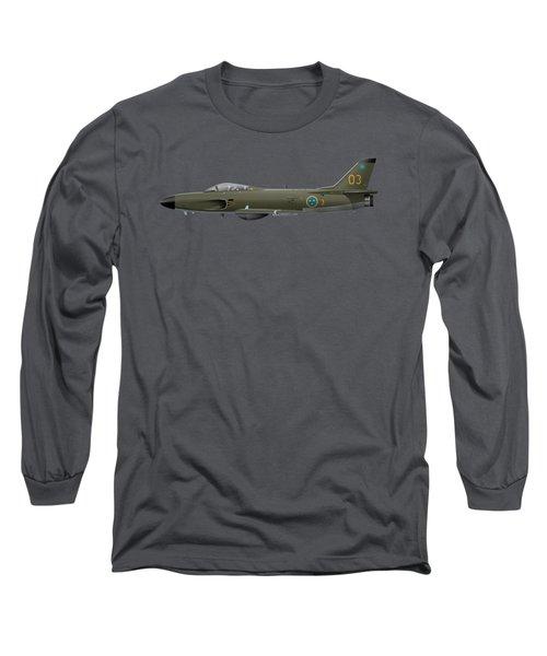 Saab J32e Lansen - 32512 - Side Profile View Long Sleeve T-Shirt