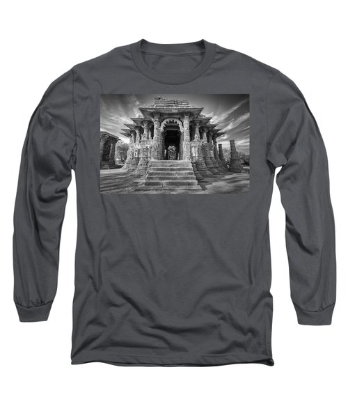 Long Sleeve T-Shirt featuring the photograph Sabhamandapa, Modhera, 2008 by Hitendra SINKAR