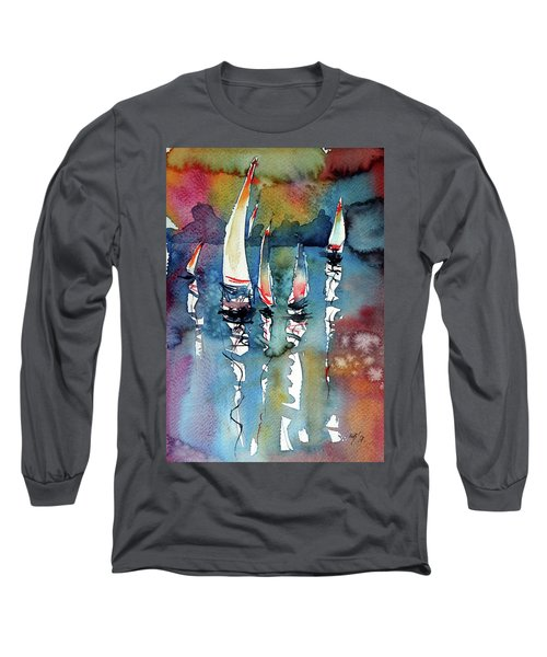 Sailboats II Long Sleeve T-Shirt by Kovacs Anna Brigitta