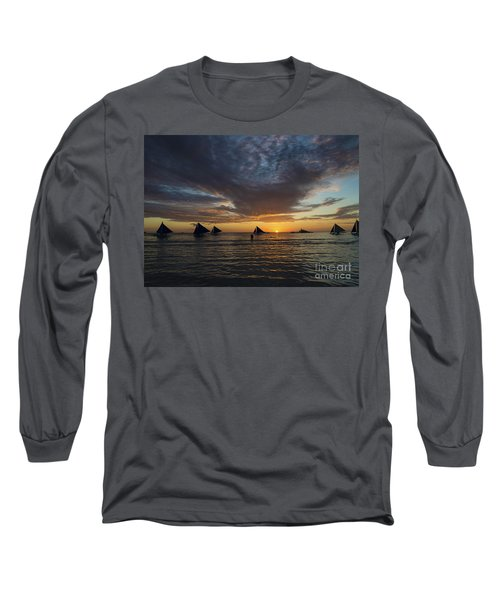 Sailing Boats At Sunset Boracay Tropical Island Philippines Long Sleeve T-Shirt