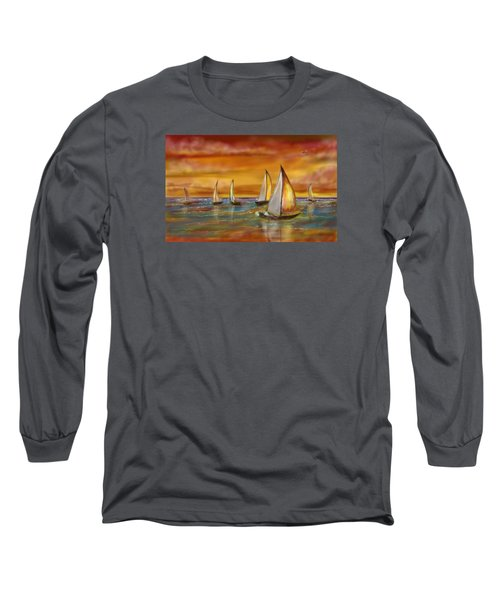 Long Sleeve T-Shirt featuring the digital art Sailing Into The Sunset by Darren Cannell