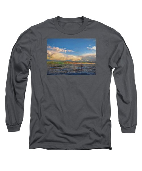 Sailing On Galilee Long Sleeve T-Shirt by Dave Luebbert