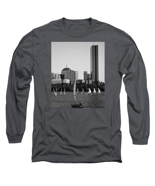 Sailing The Charles River Boston Ma Black And White Long Sleeve T-Shirt