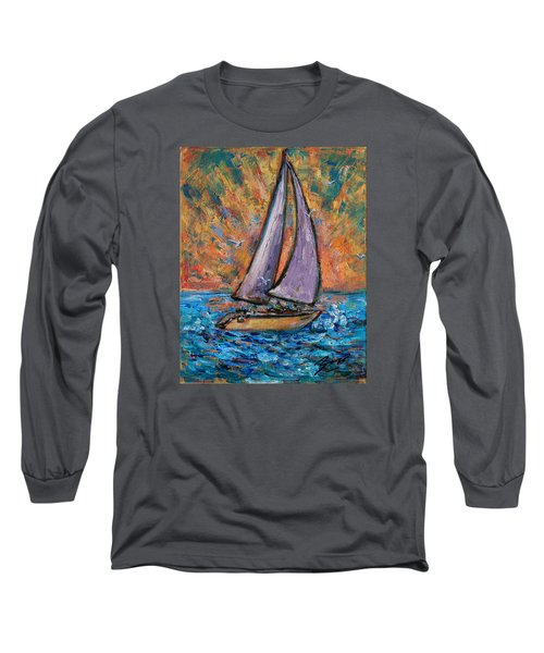 Long Sleeve T-Shirt featuring the painting Sails Up by Xueling Zou
