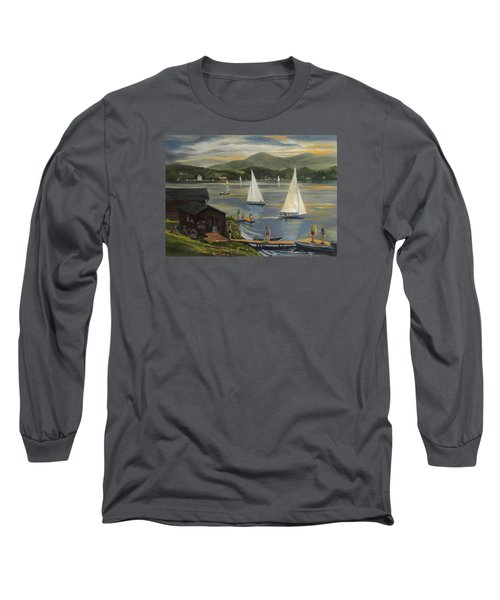 Sailing At Lake Morey Vermont Long Sleeve T-Shirt by Nancy Griswold