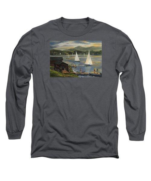 Sailing At Lake Morey Vermont Long Sleeve T-Shirt