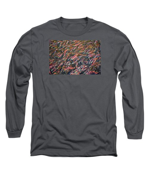 Salmon So Thick You Can Walk On Them Long Sleeve T-Shirt by Mary Lee Dereske
