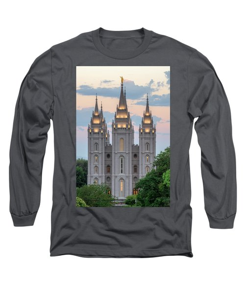 Salt Lake City Temple Morning Long Sleeve T-Shirt by Dustin  LeFevre
