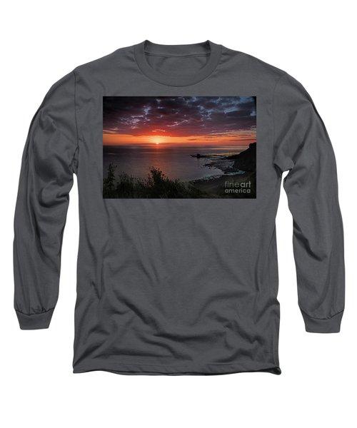 Saltwick Bay Sunrise  Long Sleeve T-Shirt by David  Hollingworth