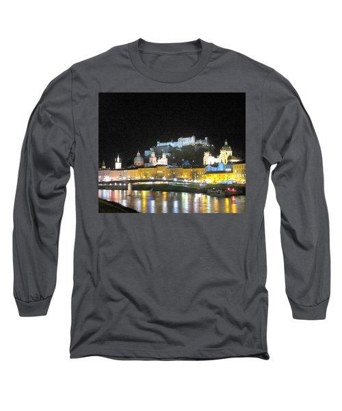 Salzburg At Night Long Sleeve T-Shirt by Betty Buller Whitehead