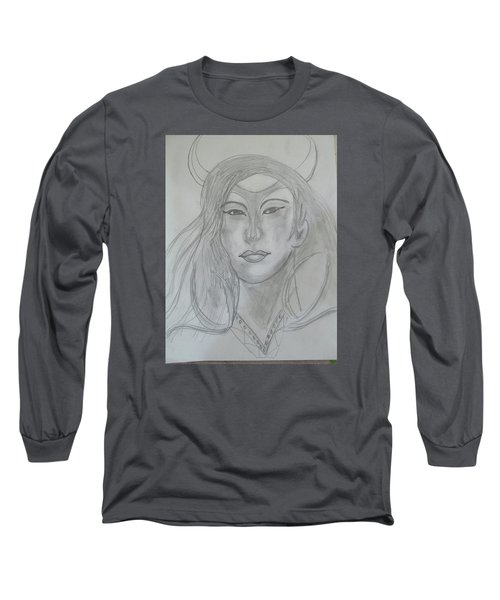 Long Sleeve T-Shirt featuring the drawing Samarai Warrior Woman by Sharyn Winters