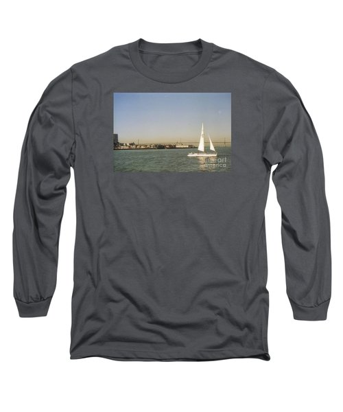 San Francisco Bay Sail Boat Long Sleeve T-Shirt by Ted Pollard