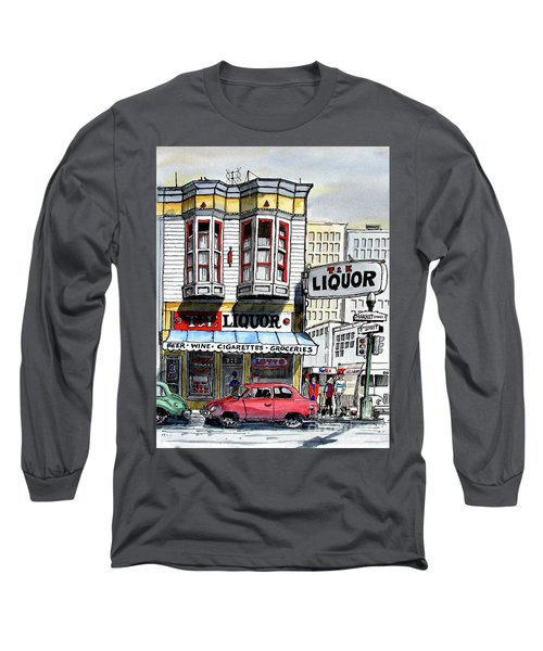 Long Sleeve T-Shirt featuring the painting San Francisco Street Corner by Terry Banderas