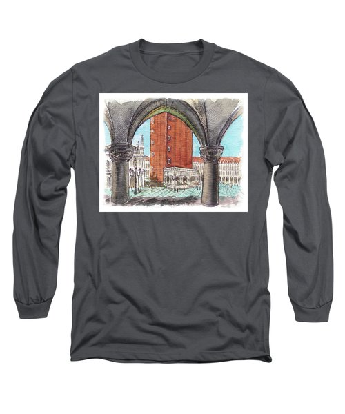 Long Sleeve T-Shirt featuring the painting San Marcos Square Venice Italy by Irina Sztukowski