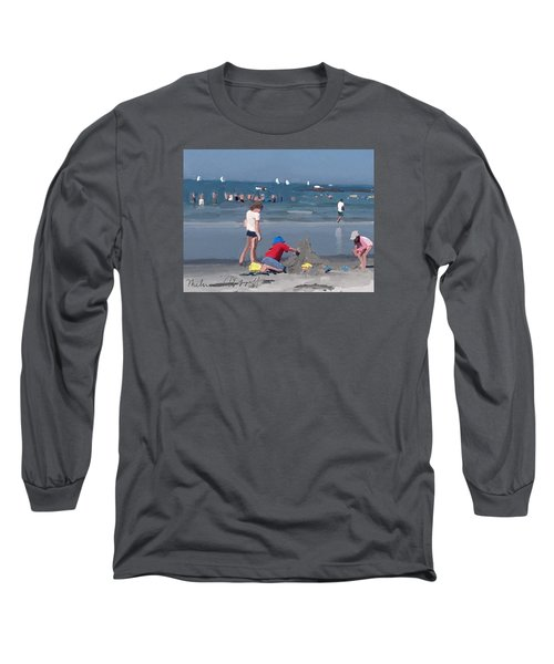 Sand Castle And Sailboats At Wingaersheek Beach Long Sleeve T-Shirt
