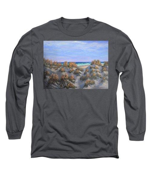 Sand Dunes Sea Grass Beach Painting Long Sleeve T-Shirt