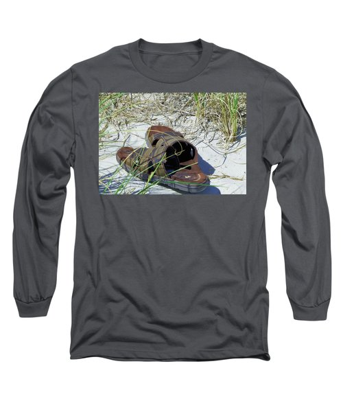 Long Sleeve T-Shirt featuring the photograph Sandals In The Sand by Cathy Harper