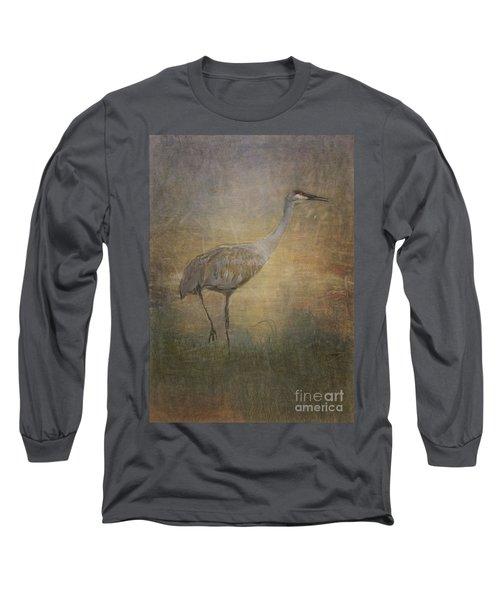 Sandhill Crane Watercolor Long Sleeve T-Shirt