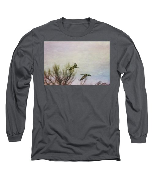 Sandhill Cranes Flying - Texture Long Sleeve T-Shirt