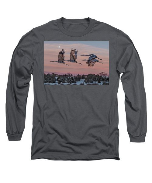 Sandhill Cranes In Flight Long Sleeve T-Shirt by Patti Deters