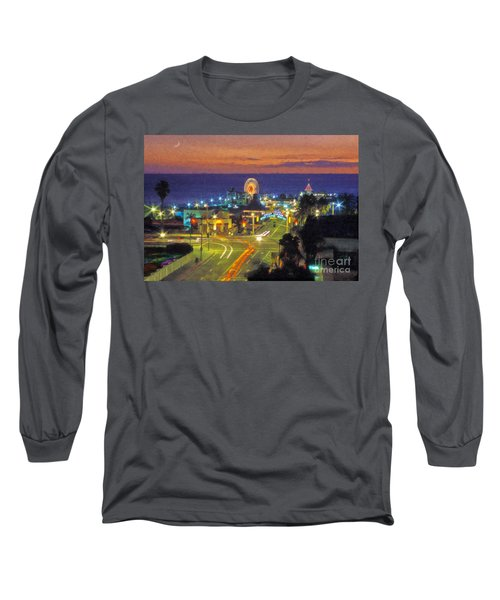 Long Sleeve T-Shirt featuring the photograph Santa Monica Ca  Pacific Park Pier by David Zanzinger