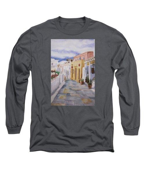 Santorini Cloudy Day Long Sleeve T-Shirt by Teresa Beyer
