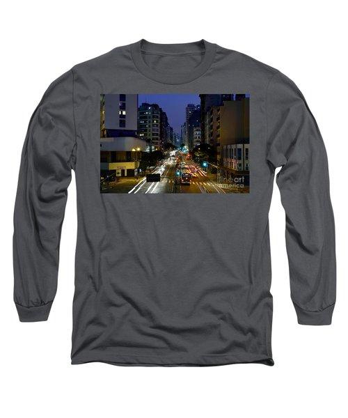 Sao Paulo, Brazil - Avenida Sao Joao At Dusk Long Sleeve T-Shirt