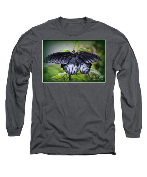 Sapphire Blue Swallowtail Butterfly Long Sleeve T-Shirt