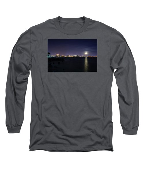Sarasota Cityscape-night-full Moon 2 Long Sleeve T-Shirt