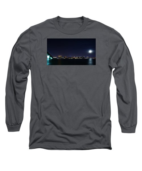 Sarasota Cityscape-night-full Moon Long Sleeve T-Shirt