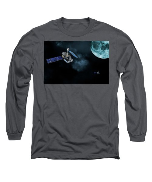 Satellites In Orbit Around The Moon Long Sleeve T-Shirt by Christian Lagereek
