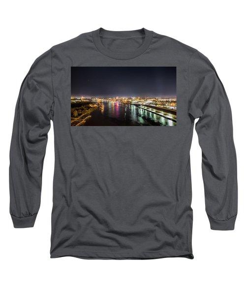 Savannah Georgia Skyline Long Sleeve T-Shirt by Robert Loe