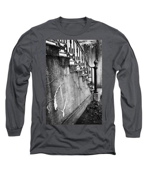 Savannah Stairway Black And White Long Sleeve T-Shirt by Renee Sullivan