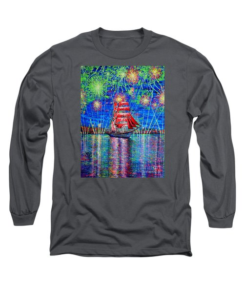 Long Sleeve T-Shirt featuring the painting Scarlet Sail by Viktor Lazarev