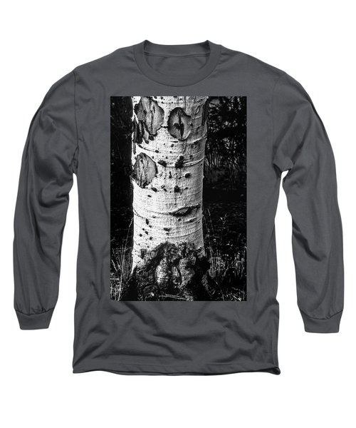 Scarred Old Aspen Tree Trunk In Colorado Forest Long Sleeve T-Shirt by John Brink